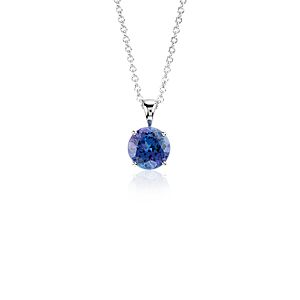 Tanzanite Solitare Pendant in 14k White Gold (7mm)