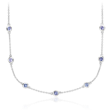 Tanzanite Stationed Necklace in Sterling Silver (3mm)