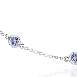 Collar con tanzanitas enhebradas en plata de ley (3 mm)