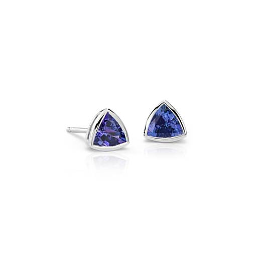 Boucles d'oreilles tanzanite trillion en or blanc 14 carats (6 x 6 mm)
