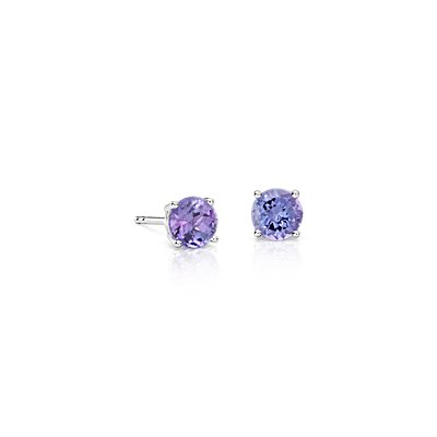 Tanzanite Earrings in 18K White Gold (5mm)