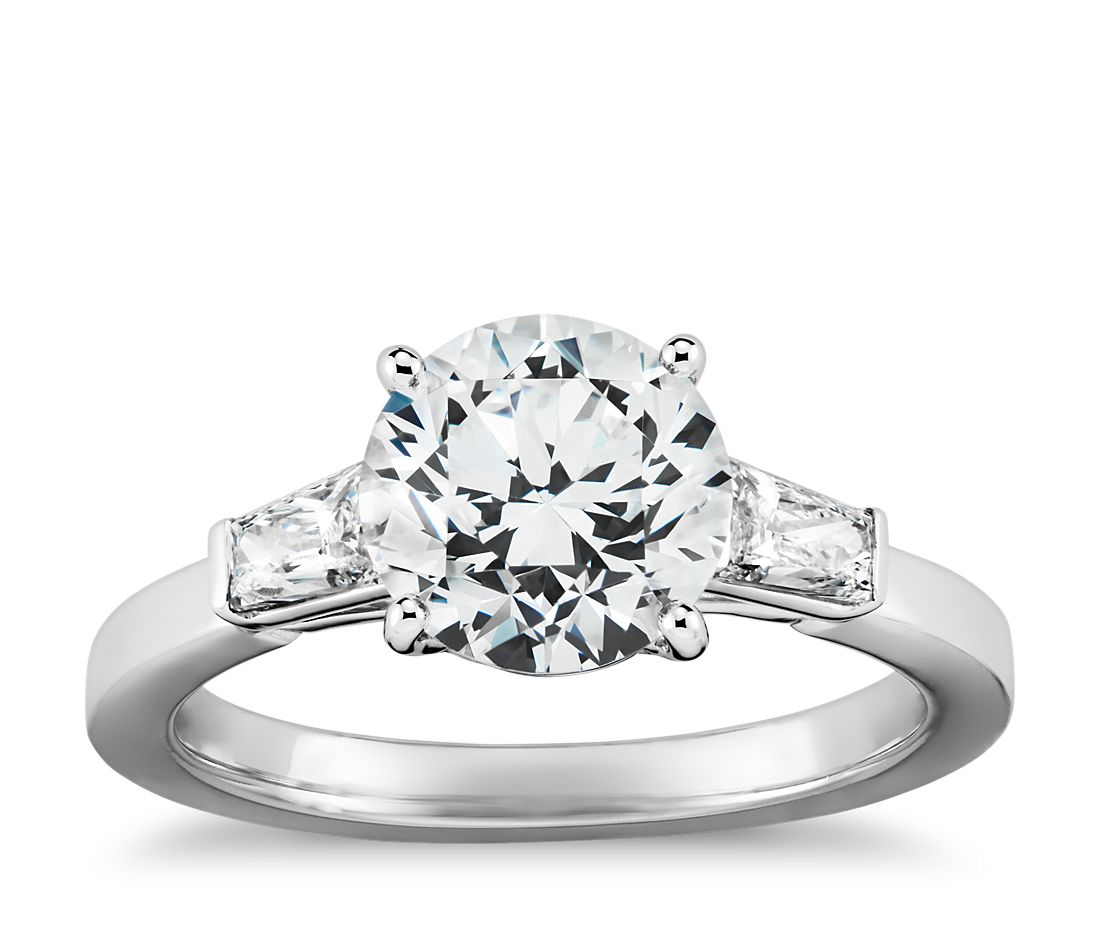 Tapered Brilliant Baguette Diamond Engagement Ring in Platinum