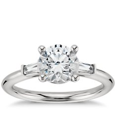 Tapered Baguette Engagement Ring in Platinum