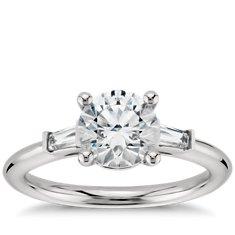 Tapered Baguette Diamond Engagement Ring in Platinum (1/5 ct. tw.)