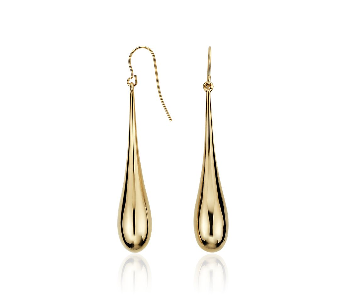 Teardrop Dangle Earrings in 14k Yellow Gold