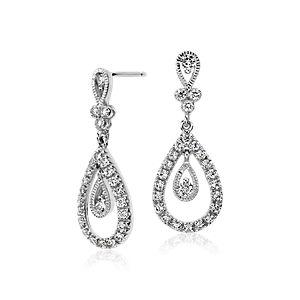 Boucles d'oreilles pendentif diamant larme en or blanc 18carats (3/4 pt.)