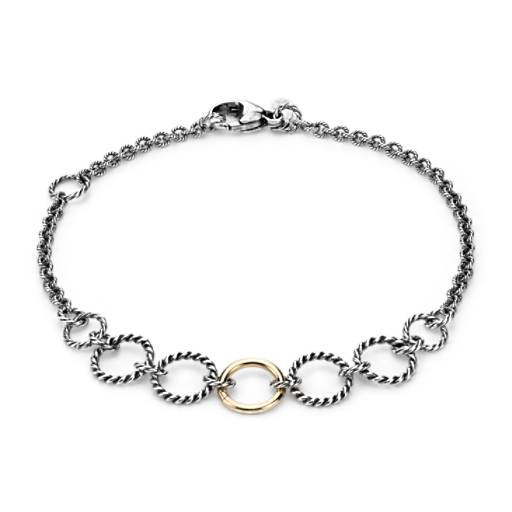 Multi-Link Textured Bracelet in 14k Yellow Gold and Sterling Silver