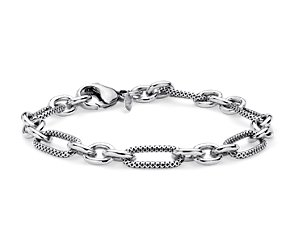 Textured Chain Bracelet in Sterling Silver