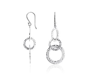 Textured Circlet Dangle Earrings in Sterling Silver