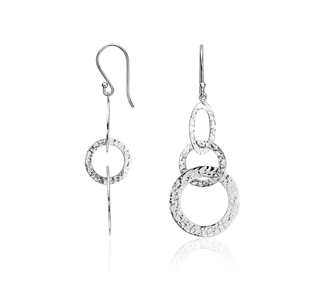 Textured Dangle Earrings in Sterling Silver