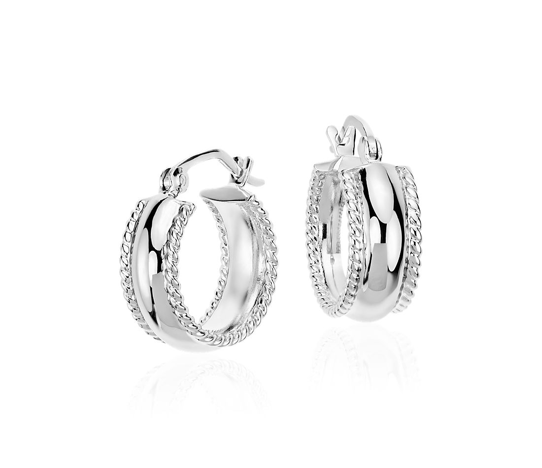 "Textured Hoop Earrings in Sterling Silver (5/8"")"