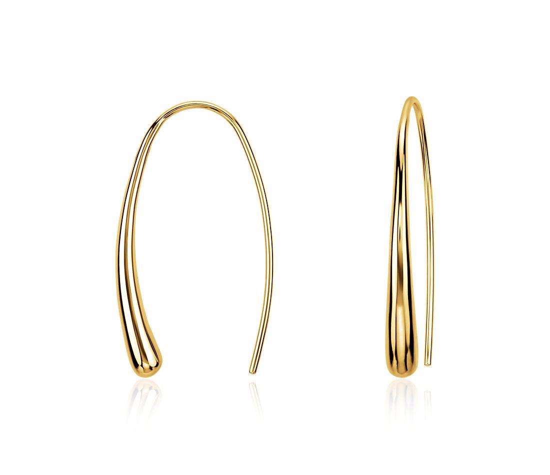 Dew Drop Threader Earrings in Gold Vermeil