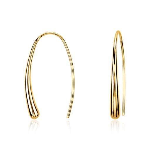 Dew Drop Threader Earrings in Gold Vermeil