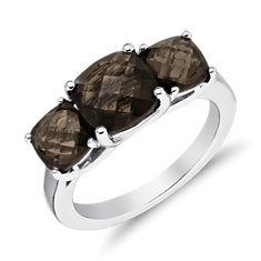 Three Stone Smokey Quartz Ring in Sterling Silver