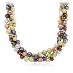 Three-Strand Aurora Freshwater Cultured Pearl Necklace with Sterling Silver