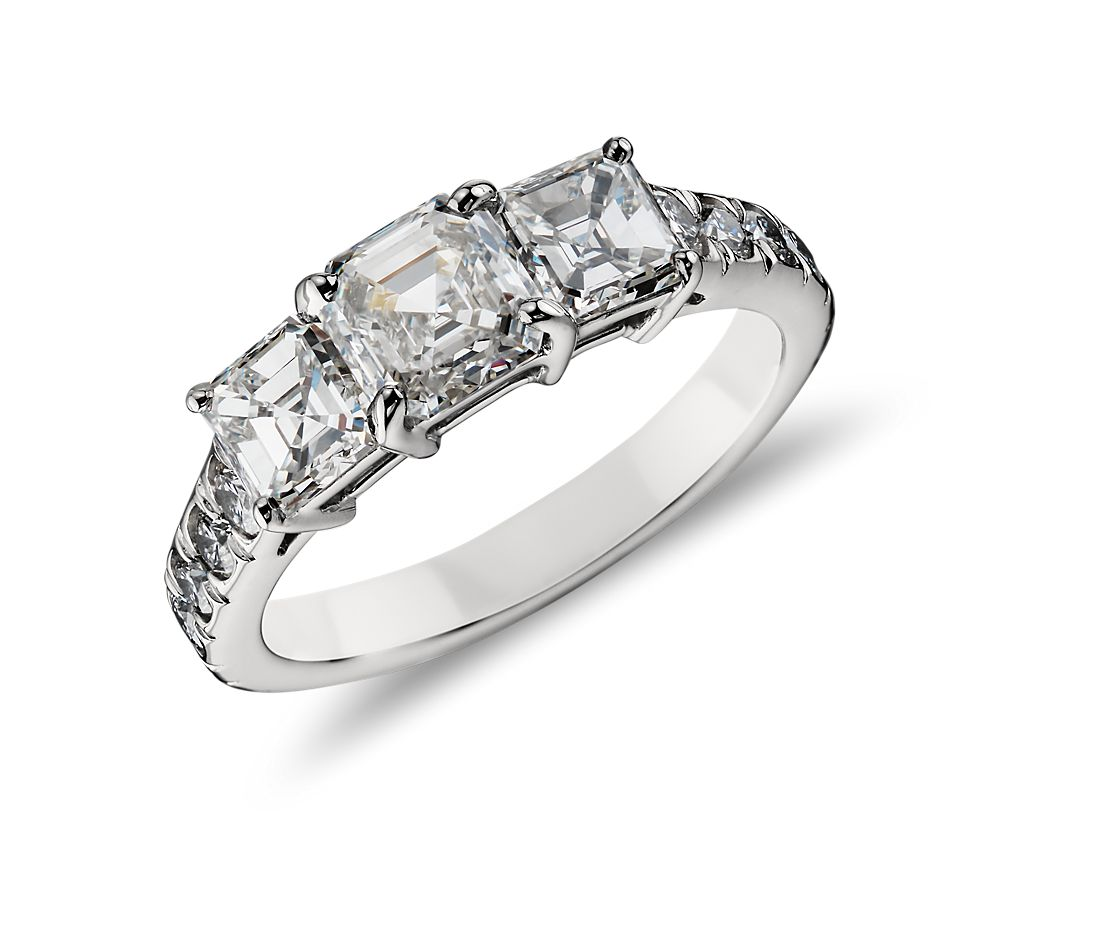 Three Stone Asscher  Diamond Ring in Platinum  (2 ct. tw.)