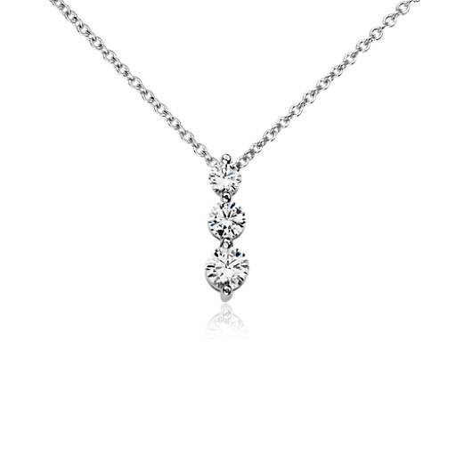 NEW Three-Stone  Drop Diamond Pendant in 14k White Gold (1/2 ct. tw.)