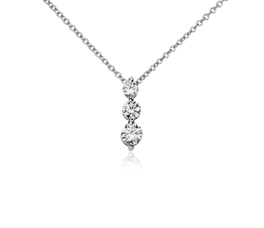 Three-Stone  Drop Diamond Pendant in 14k White Gold (1/2 ct. tw.)