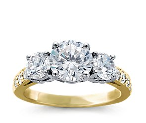 Three Stone Pave Diamond Ring in 18k Yellow Gold (1/4 ct. tw.)