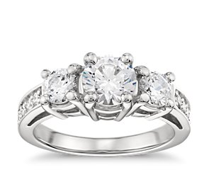 Three-Stone Pave Diamond Engagement Ring in Platinum (1/4 ct. tw.)