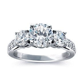 Three Stone Pavé Diamond Ring in Platinum (1/4 ct. tw.)