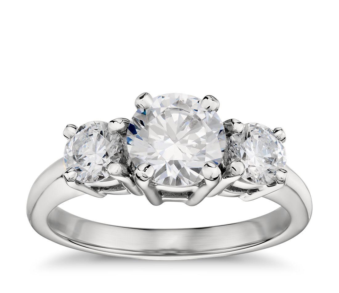 Classic Three-Stone Diamond Engagement Ring in Platinum