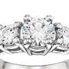 Three-Stone Pavé Diamond Engagement Ring in Platinum (1/4 ct. tw.)