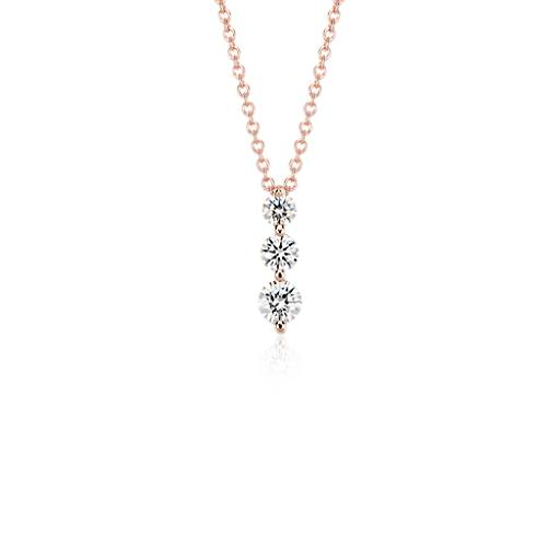 NEW Three-Stone Drop Diamond Pendant in 18k Rose Gold (1/2 ct. tw.)