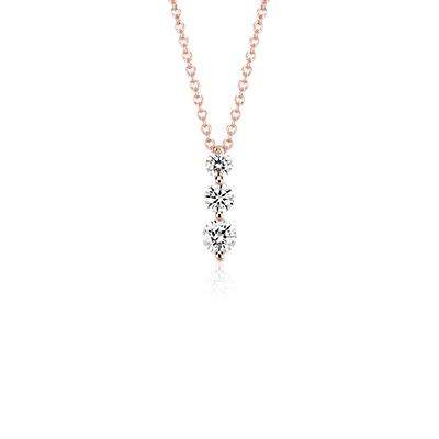 Pendentif diamant goutte à trois pierres  en or rose 18carats (1/2carat, poids total)