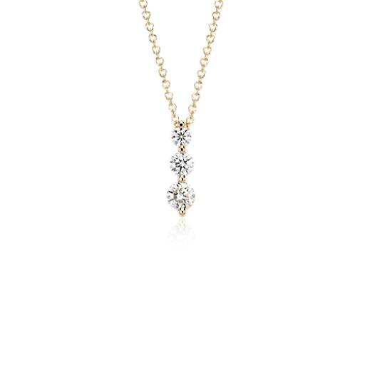 NEW Three-Stone Drop Diamond Pendant in 18k Yellow Gold (1/2 ct. tw.)