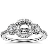 Three Stone Halo Diamond Engagement Ring in 14k White Gold