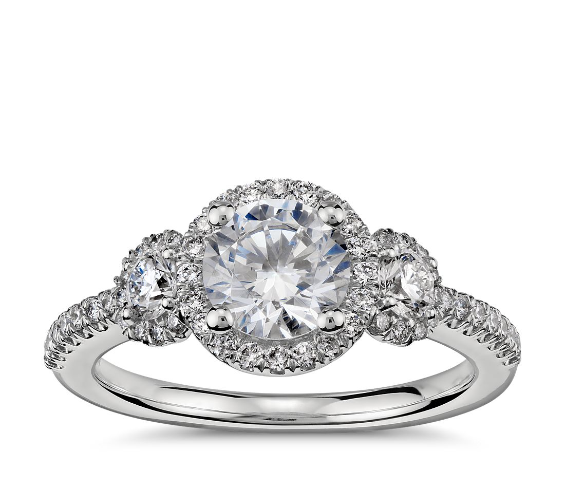 Three Stone Halo Diamond Engagement Ring in Platinum