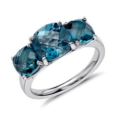 Three Stone London Blue Ring in Sterling Silver