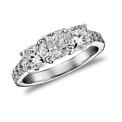 Cushion-Cut Three Stone Pavé Diamond Ring in Platinum  (2.5 ct. tw.)
