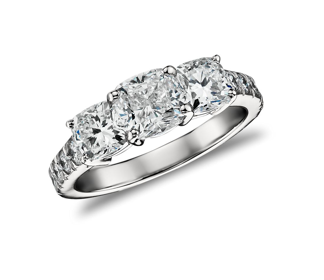Cushion-Cut Three Stone Pave Diamond Ring in Platinum  (2.5 ct. tw.)