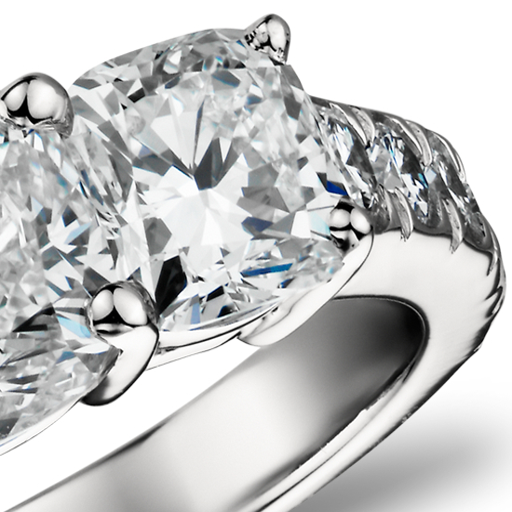 Cushion-Cut Three Stone Pavé Diamond Ring in Platinum  (2.5 ct. tw.)