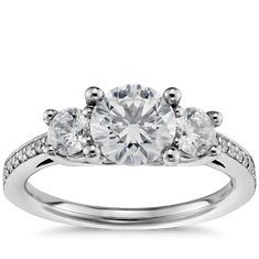 Three Stone Pavé Diamond Engagement Ring in 14k White Gold