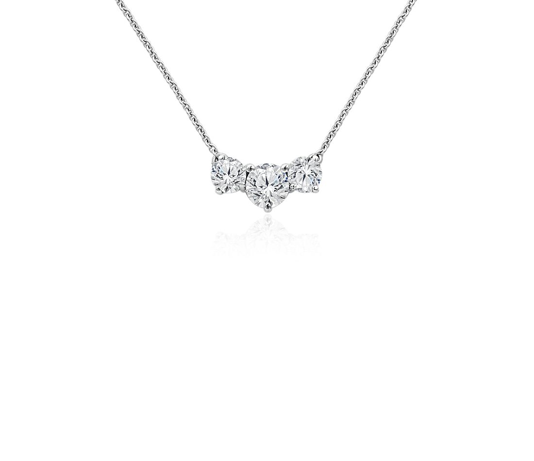 Three-Stone Pendant in 14k White Gold (1 ct. tw.)