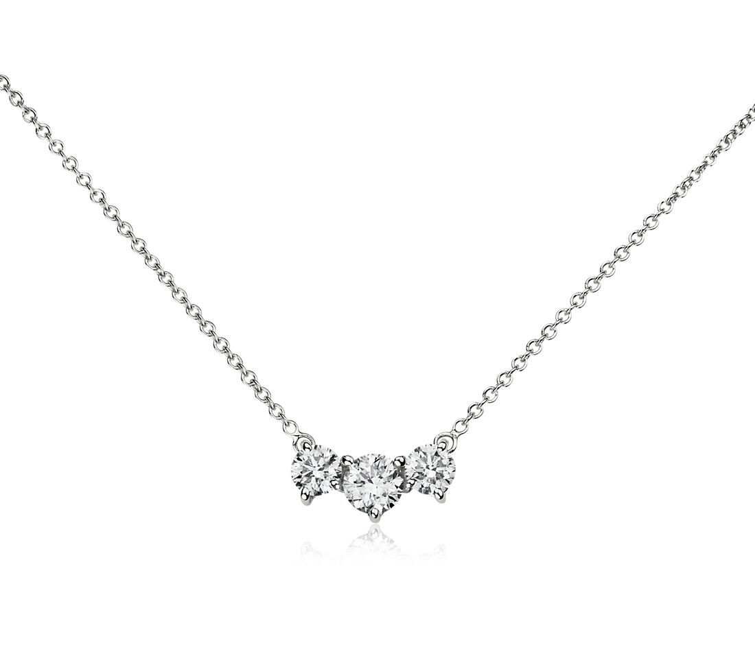 Three-Stone Pendant in 14k White Gold (1 1/2 ct. tw.)