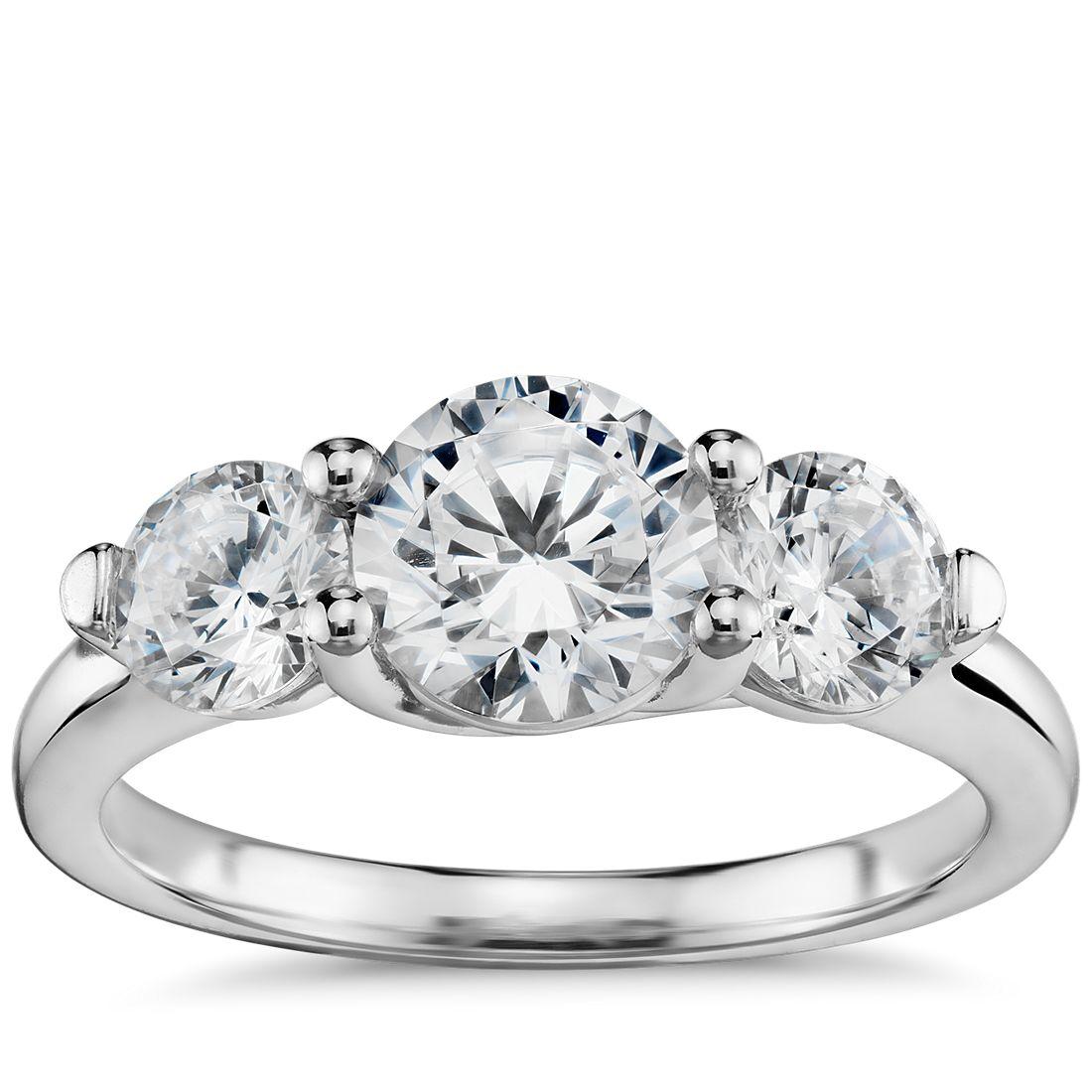 Three-Stone Petite Trellis Diamond Engagement Ring in 14k White Gold