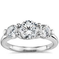 Three Stone Petite Trellis Diamond Engagement Ring in Platinum