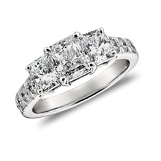Radiant Cut Three Stone Pavé Diamond Ring in Platinum (2.5 ct. tw.)