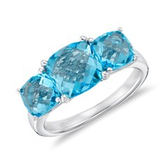 Swiss Blue Topaz Three Stone Ring in Sterling Silver