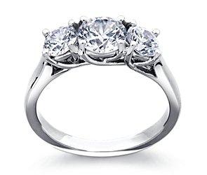 Three Stone Trellis Diamond Engagement Ring In Platinum