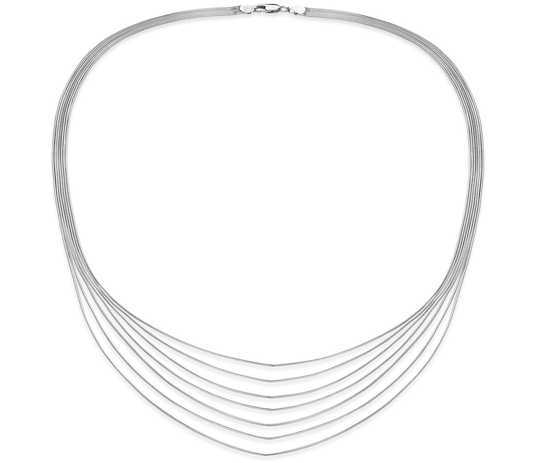 Collier à sept rangs en argent sterling