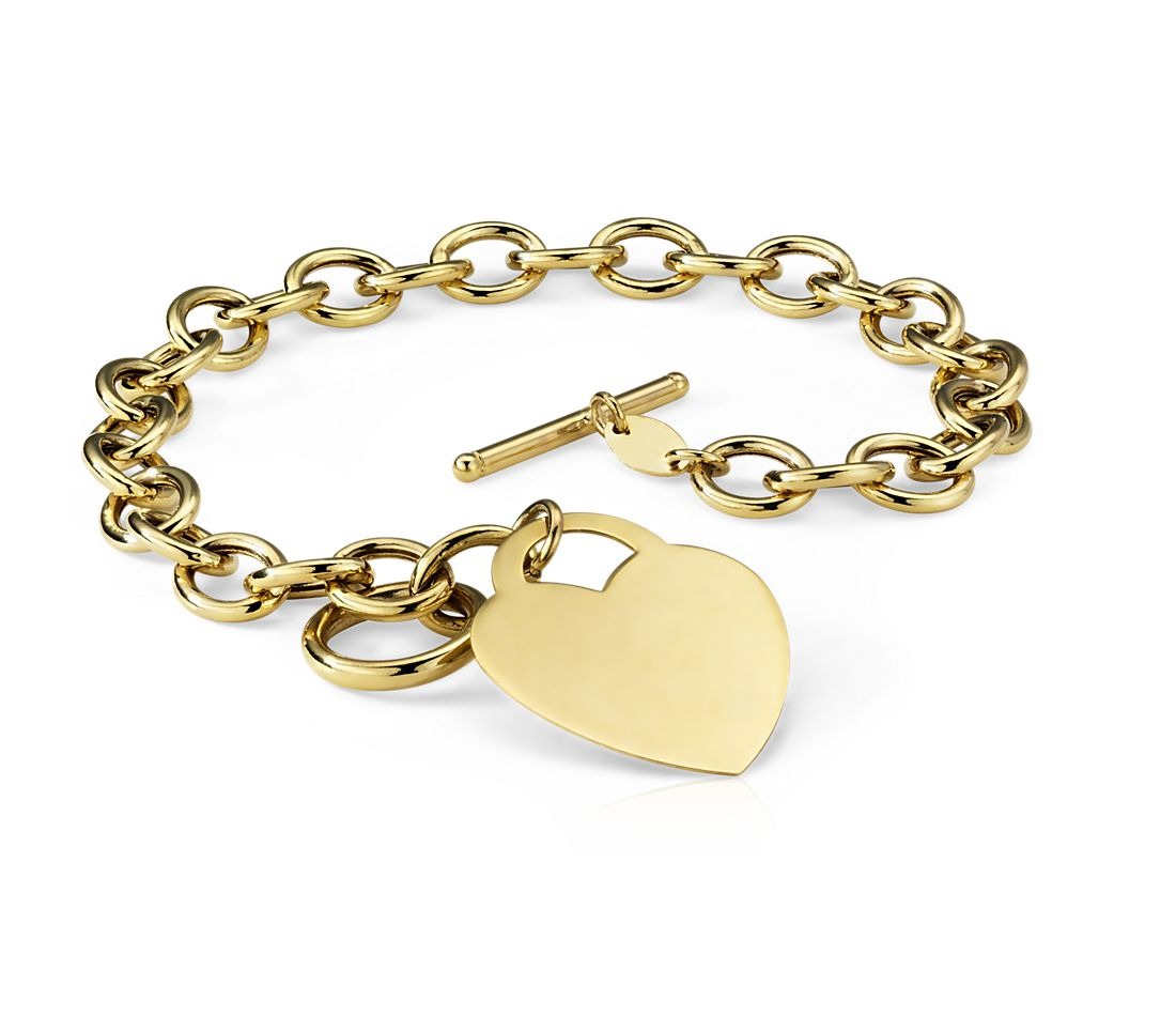 Brazalete con dije en forma de corazón en oro amarillo de 14k