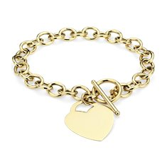 Toggle Heart Tag Bracelet in 14k Yellow Gold