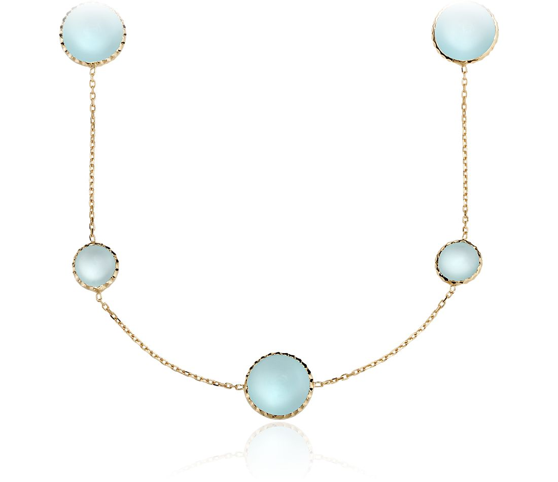 Blue Topaz Stationed Cabochon Necklace in Yellow Gold Vermeil