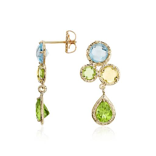 Sky Blue Topaz, Lemon Quartz, and Peridot Cluster Earrings in 14k Yellow Gold