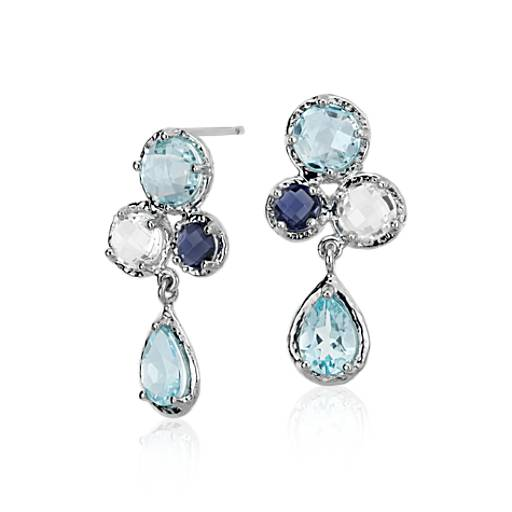 Sky Blue Topaz, White Topaz and Iolite Cluster Earrings in 14k White Gold (7x5mm)
